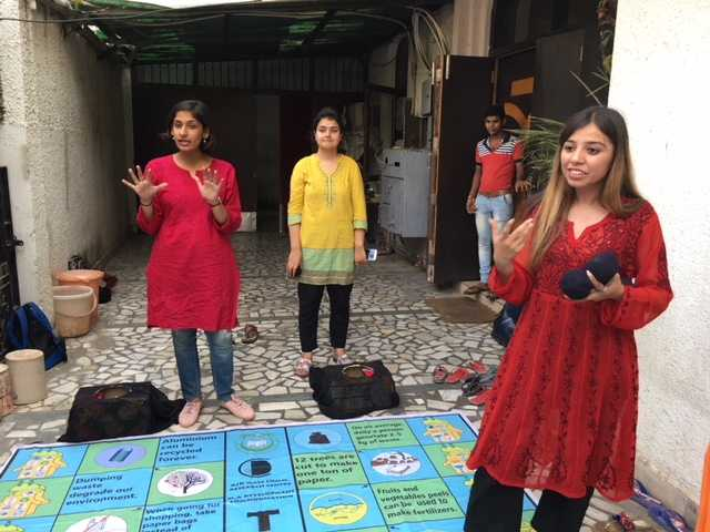 Students of MA Developmental Communication from Jamia Millia Islamia University visited Bagiccha project on April 26th and organised games such to teach students concepts such as Save the Environment and Menstrual Hygiene. Traditional games like ludo , Snakes and Ladder, Pithoo were adapted to teach the concepts. The students really enjoyed the interaction and the non formal way of learning the concepts.