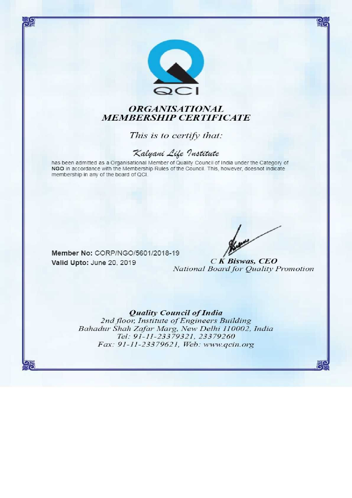 Kalyani Life Institute has now been certified by Quality Control of India.