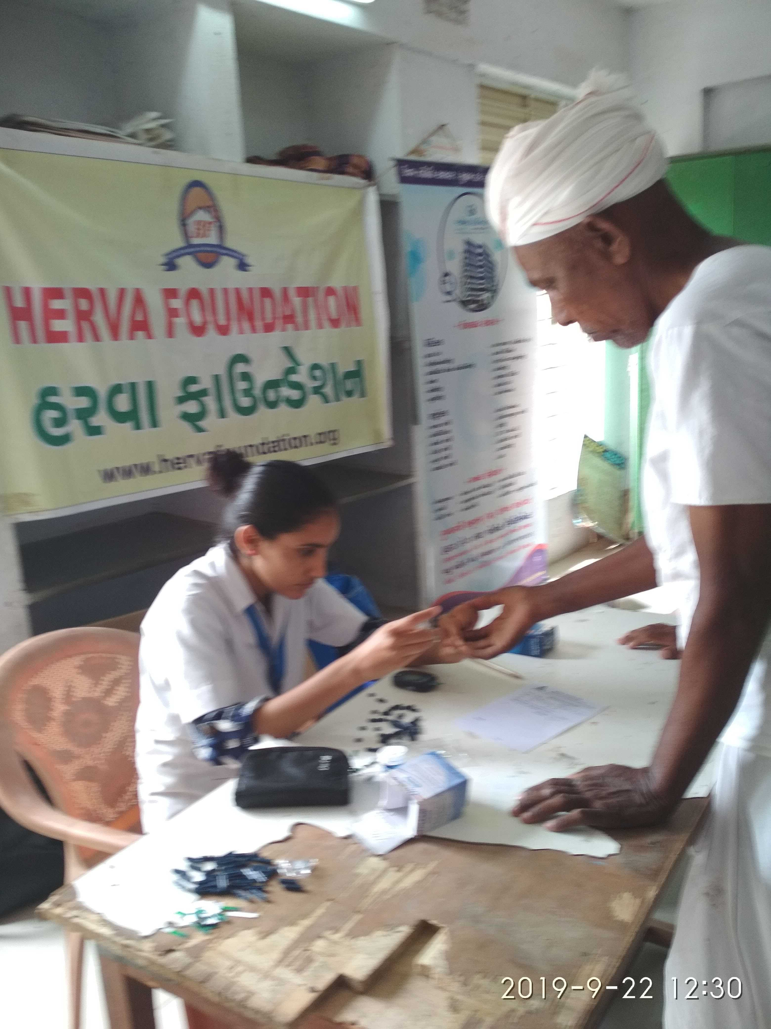 Free health check-up and free medicine distribution camp at village Ghoda taluka Viramgam, Gujarat in association with Global Hospital, Thalej, Ahmedabad on 22-9-19 -Sunday Total 105 villagers attended for check-up...of which 49 males and 56 females ...out of which 34 senior citizens (12 males and 21 females). 30 ECGs done (Male 20 & Female) % have been critical needed further treatment which would be given at Global Hospital.