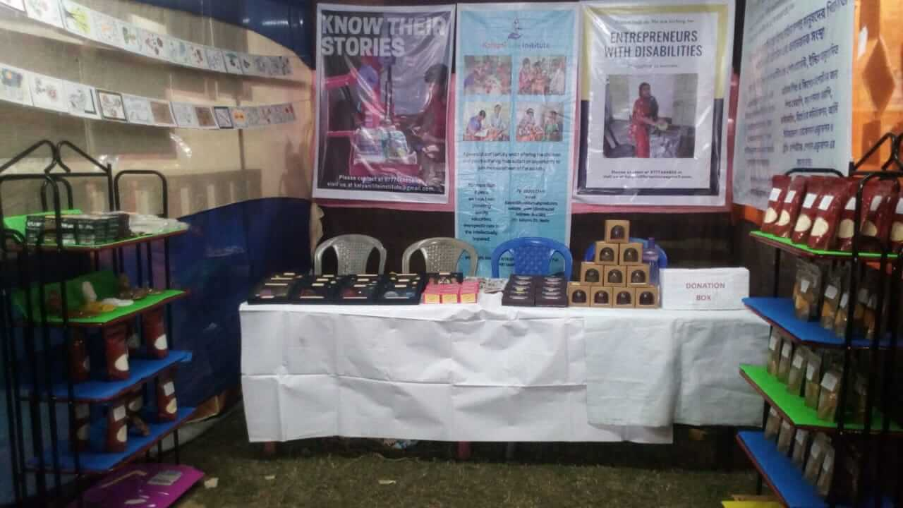 We have supported a stall organised by our self advocates at Kalyani Book Fair from today to 16th December.  Products like glass diya, wax art, showpiece tray, gel wax showpiece, browny Diya, cocktail diya, agarbatti, five and one rupee candle, cumin powder, coriander, turmeric powder, dhoka mix, beson, line-produced by our beneficiaries have been displayed here.