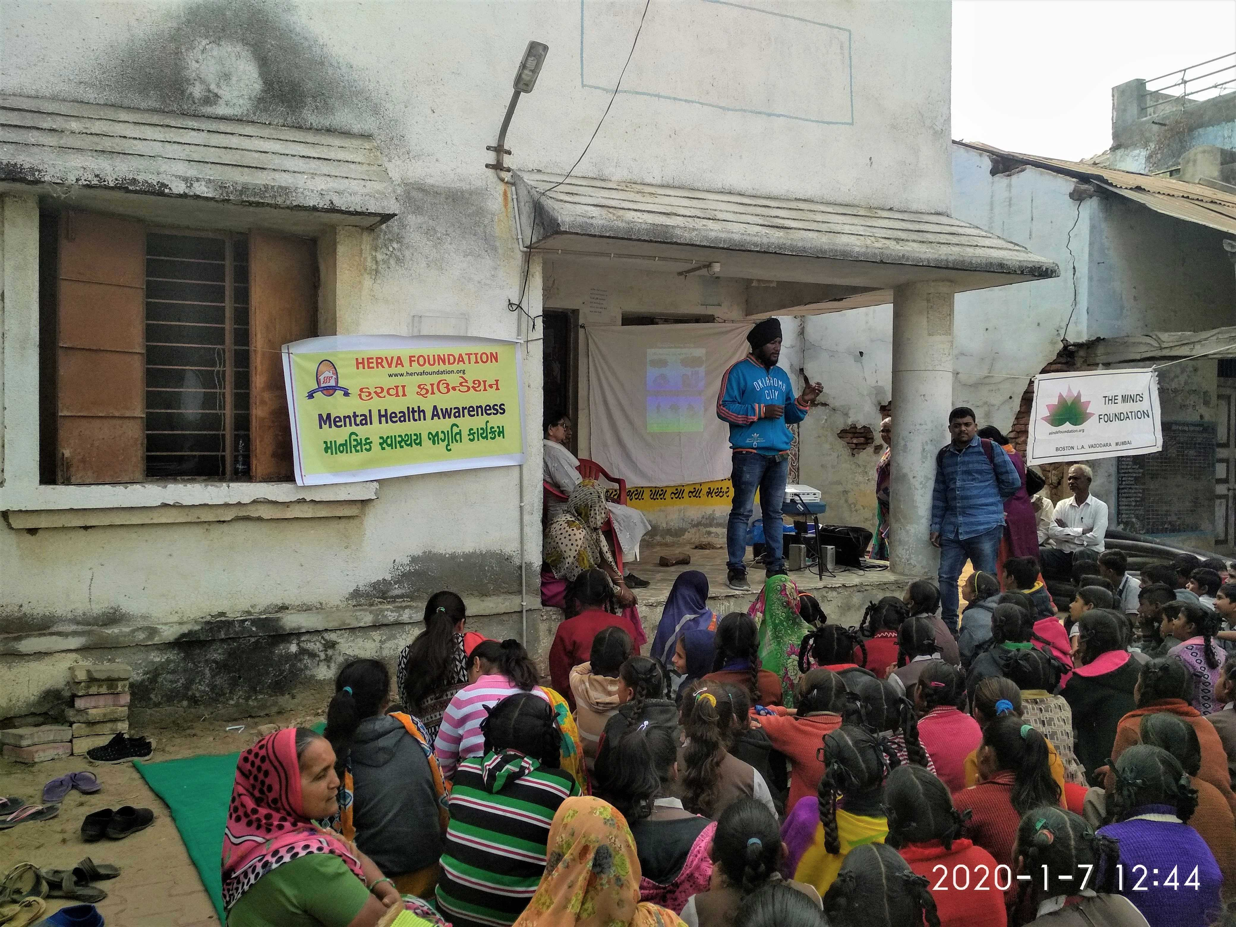 """MENTAL HEALTH AWARENESS CAMP AT VILLAGE KALOLI ON 7-1-20  A short film """" Tarang"""" in Gujarati on this subject was shown. Total 52 villagers (26 males and 26 female) along with 100 school students and 4 teachers attended. We were able to identify 4 male patients with mental health issues. 1 of them was already taking medicines so we did counselling to continue the medication. Other 3 patients had issues such as anxiety, involuntary muscle movements and sign of depression respectively."""