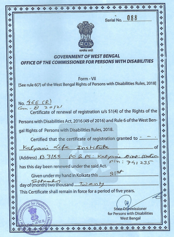We have received our New Certificate under Right to Persons With Disabilities, 2018