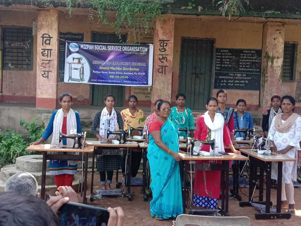 Mizpah Social Service Organisation distributed sewing machines to the women who had completed  tailoring training. The sewing machines were distributed on 6th October, 2020 at Rasikpur Kurwa, Dumka District, Jharkhand State as part of the Mizpah Self Employment Program to equip people with skills and resources to lead a life of dignity. The Organization has been striving to contribute its mite to better lives in the state where lack of access to basic human needs like electricity and potable water poses stiff challenges to the progress of society. The state also lags behind in education, a key social indicator. Mizpah Social Service Organisation intends to support the people of Jharkhand in their striven for a dignified existence. We request your earnest prayers, support and cooperation in all the endeavors we undertake in the state.