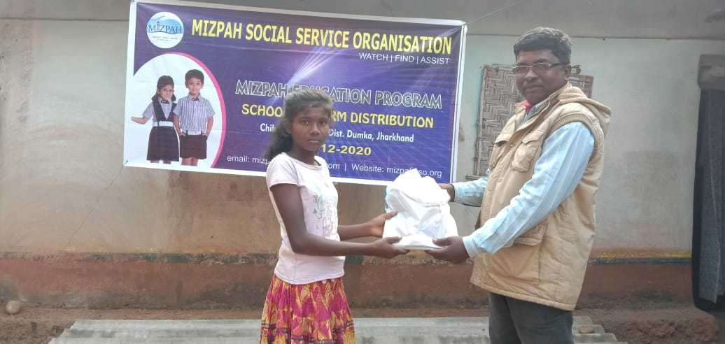 Mizpah Social Service Organization distributed uniforms to the 40 poor children in Chiharbani village at Dumka district in Jharkhand.