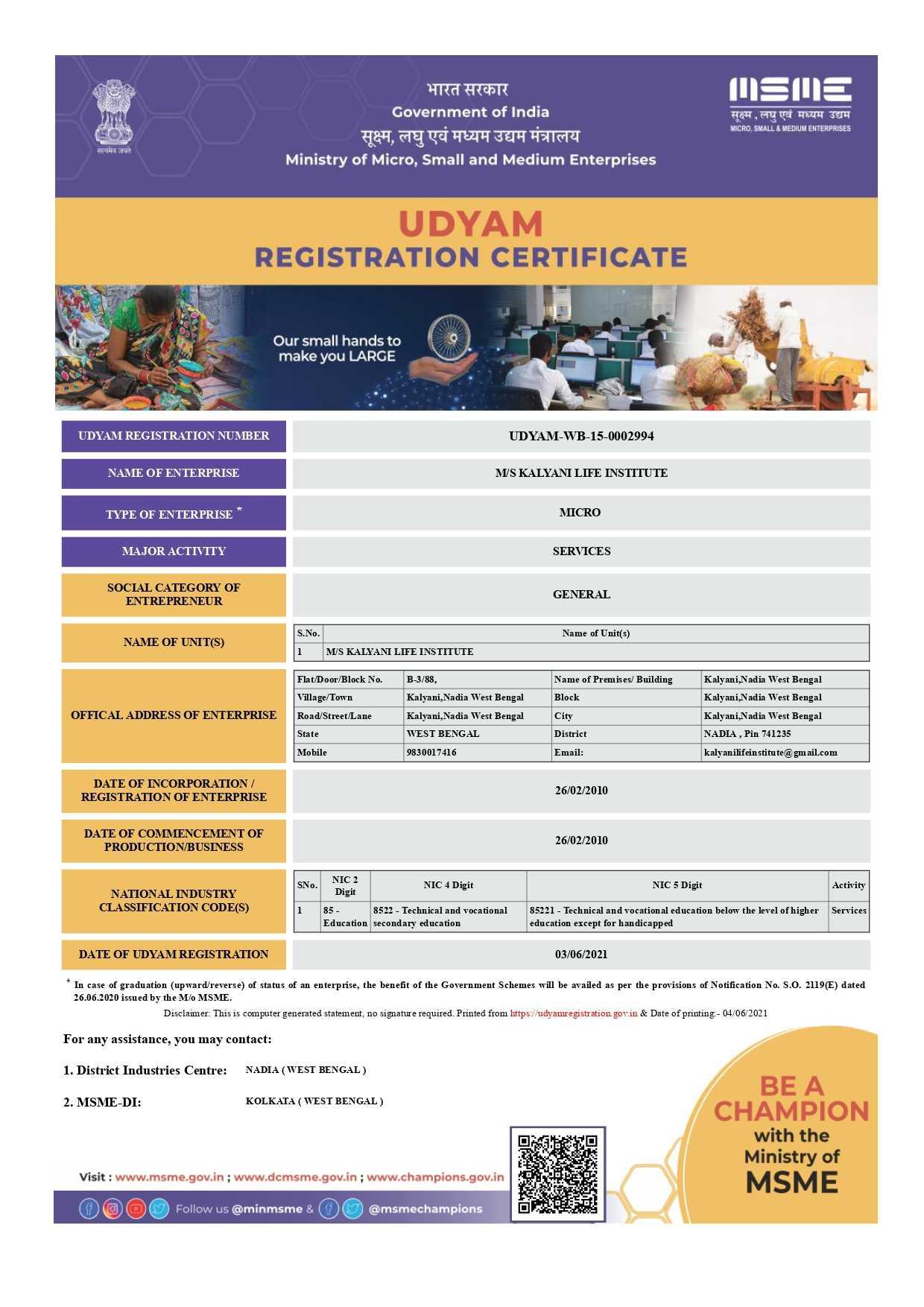MSME/Udyog Aadhaar registration of Kalyani Life Institute