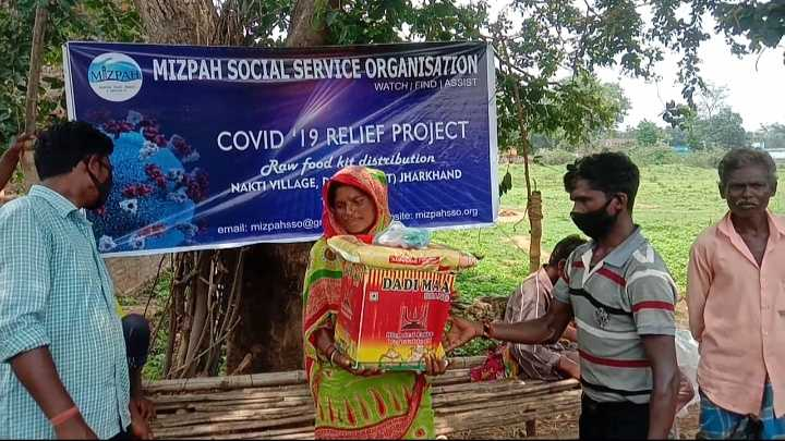 """Since 7th June 2021 Mizpah sso is distributed Raw food kit's to 100's of families from Chihurbani, Nachangaria, Kinkinari, Peppra, Pranchock villages of Dumka district, And today (11th June, 2021) at Nakti village Mizpah is distributing raw food materials to the families at Nakti village, Dumka district Jharkhand. Due to Covid 19, they lost their daily wage works, and their cultivation products, so Mizpah came to know the situation and acted to give them food supply which would help the underprivileged people of this village. MIZPAH sso Director Mr James Says, """"we are continuously working towards to help this villagers to come out of poverty, our dream is to help each family self-sustained by reaching out to them through several projects in India """". YOUR CONTINUOUS SUPPORT WILL HELP THESE PEOPLE STAND AGAIN TO FIGHT THE LIFE TO WIN."""